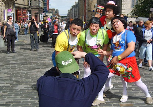 The cast of Babbling Comedy do some PR in the High Street at last year's Fringe