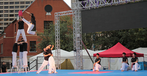 The Kukkiwon Taekwondo team rehearse their moves in the dry