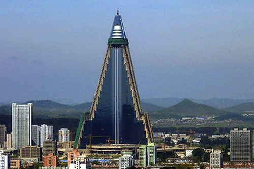 The Ryugyong Hotel, now covered in glass