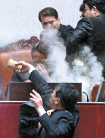 Tear Gas in the main chamber of the National Assembly