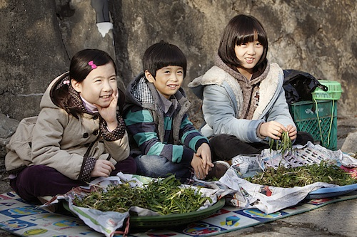 Children try to supplement their mother's income selling herbs