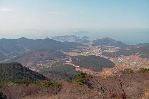 View towards Park Kyung-ni's tomb from Mireuksan