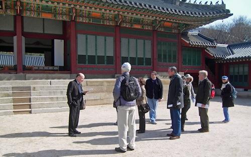 Peter Bartholomew starts the tour of the Deoksu Palace