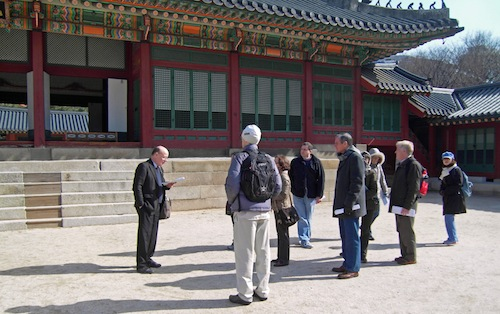Peter Bartholomew starts the tour of the Deoksu Palace