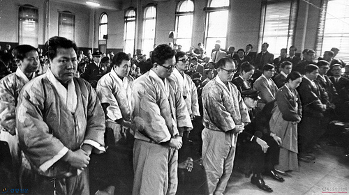 The defendants at the trial in the East Berlin Spy Incident, November 1967