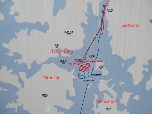 A map of the battle of Hansando, on display in Tongyeong harbour
