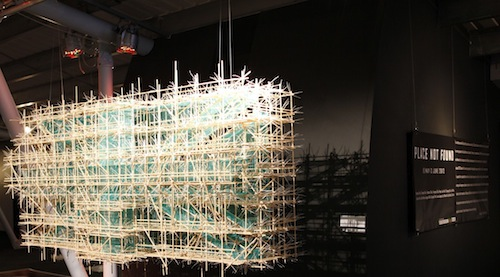 Jiho Won: Union Jack, 2012. Wood, cable ties, scaffolding net, 140 x 250 x 70cm