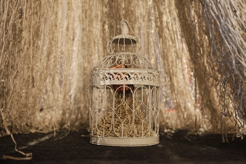 Jukhee Kwon, /fromthebooktothespace/ in the bird cage, 2012. Bird cage, cutting book, 40 x 24 x 24cm