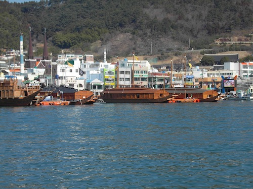Turtle-ships and a panokseon in Tongyeong harbour