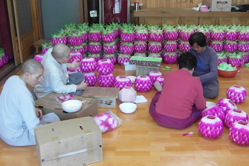 Making lanterns for Buddha's birthday at Anjeoksa, Sanjeong-gun