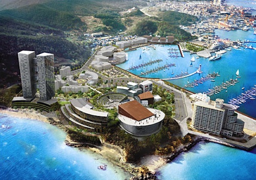 An early plan for a new concert hall, recital hall, shopping center and 40-storey condo development next to the Chungmu Marina Resort, originally scheduled to be completed in 2007