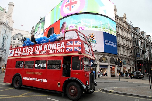 A London bus announced the start of the festival
