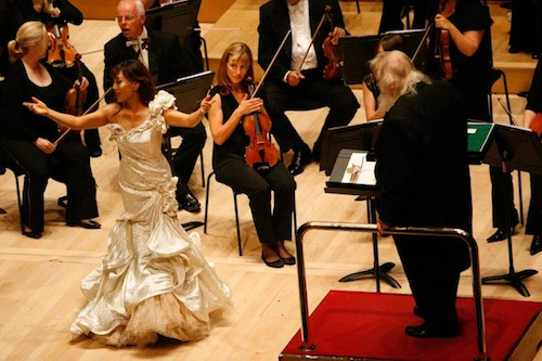 Sumi Jo acknowledges the applause after her performance of Caro Nome