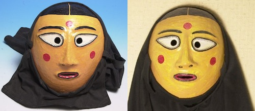 Two masks worn by Pijori in a Namsadang performance