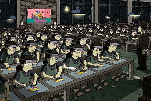 An imaginary Korean animation sweatshop, from the Simpsons title sequence helmed by Banksy