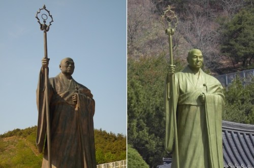 The statue of Seong Cheol in 2010 (left) and spruced up for his 2012 100th birthday (right)