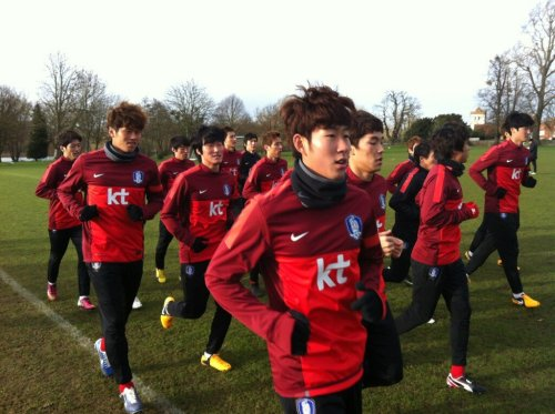 The Red Devils training in Bisham earlier today