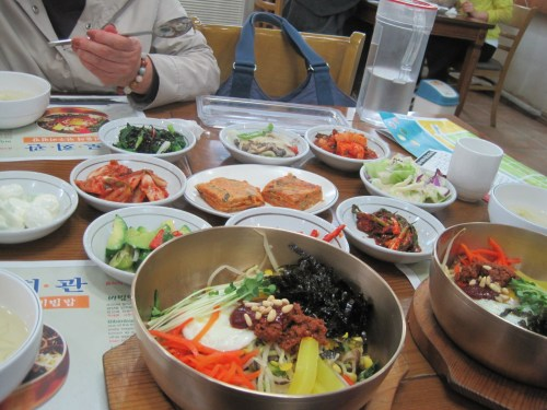 The bibimbap set menu with all the side dishes