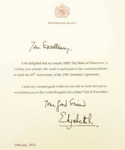 Letter from Queen to President Park