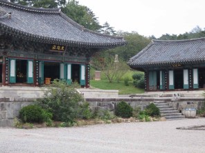 The two main shrine buildings and, beyond, an unusually shaped pagoda