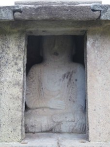 One of the buddhas which sit back-to-back in the stone shrine (Treasure #797)