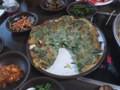 A herbal pajeon which came unexpectedly at the end of the meal