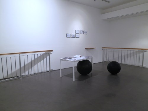 Kim Minae: 14 Degrees off (2013) and (on the wall) Thoughts on Habit (2013)