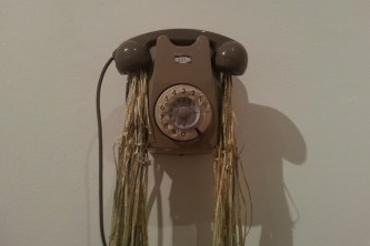 Jukhee Kwon: Fluxus (Telephone), 2013. Paper and found objects.