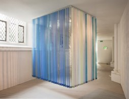 Yumi Chung, Untitled, 256×213cm, 256×152cm, Fabric, plastic bags, cleaning papers, vertical blind head rail, 2013