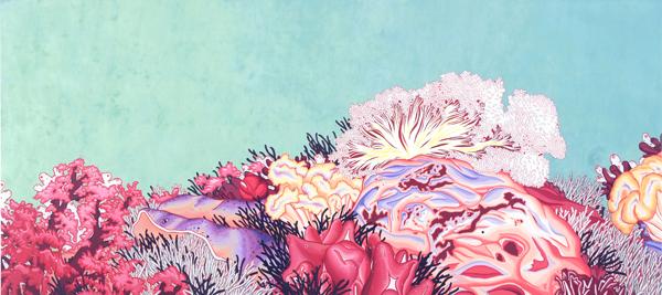 Jo Joo, Dazzling plastic algorithm, 260x100.0, Oriental color on Korean paper, 2010