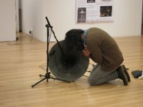 Kim Ingeun makes some adjustments to his audio installation