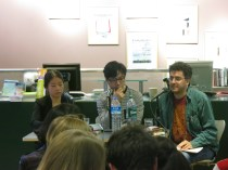 LBF - Kim Young-ha (centre) with Daniel Hahn (r) and interpreter Cho Yuna at the London Review Bookshop