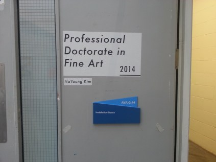 Kim Hayoung's Professional Doctorate in Fine Art degree show, 2014