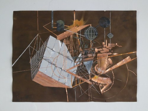 Jeehee Park: Drawing (2014). Copper tape, zinc plate copper sulphate marinated paper. At Hanmi Gallery. 24 July 2014