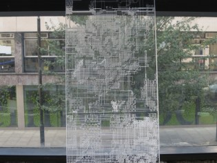 Jeehee Park: Aylesbury Estate Lace Curtain project (2014). Installed at Hanmi Gallery. 24 July 2014