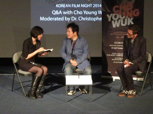 Cho Young-wuk with Christopher Letcher and interpreter Rho Seh-hyun