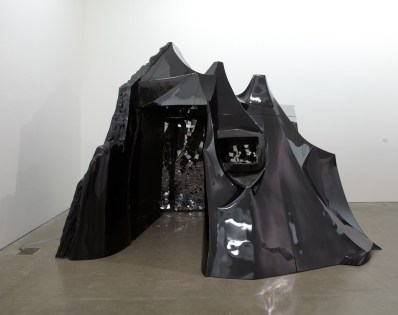 Lee Bul, Bunker (M. Bakhtin), 2007, cast fiberglass on stainless steel frame, plywood, leather, electronics, interactive sound work, courtesy the artist and Ikon