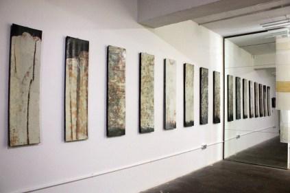 Large buncheong wall panels by Lee Kang-hyo at Tent London (photo: KCDF)