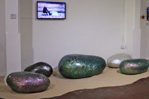 Mother-of-pearl covered rocks by Hwang Sam-yong