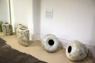 Large buncheong vases by Lee Kang-hyo at Tent London (photo: KCDF)