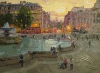 Jeon Pyeong Jin: Trafalgar Square (2014). Oil painting at the DPRK Embassy, London