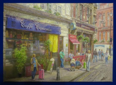 Kim Hun: London Street Scene (2014). Oil painting at the DPRK Embassy, London