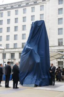 The memorial immediately before its unveiling
