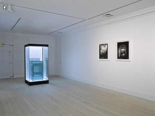 Installation view including (L) work by Suh Do-ho.