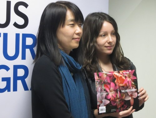 Han Kang (L) with her translator Deborah Smith