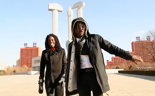 Rappers Pacman and Peso in their hip-hop video Escape to North Korea