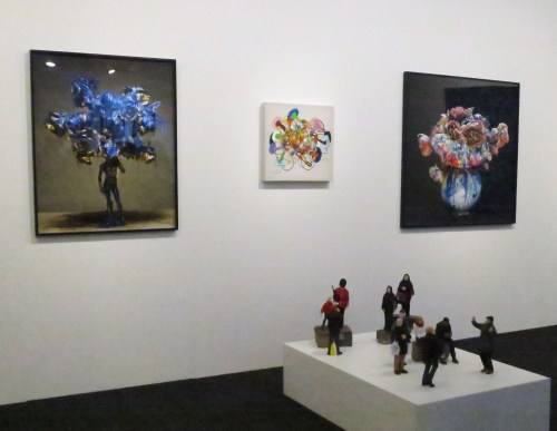 Work by Kim Ha-young between two by Park Hyojin; and in foreground, work by Lah Sun. At Skiptwiths