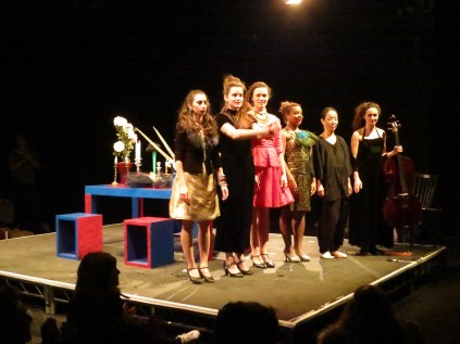 The performers acknowledge the applause (Young In Hong: In Her Dream performance, ICA Theatre, 9 February 2015)