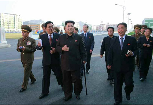 Kim Jong-un pictured with walking stick in the Rodong Sinmun, 14 October 2014