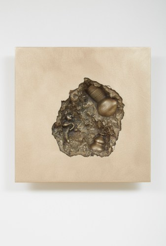 Hur Shan: Crack on the Wall #03-1 (Buddha), 2015, bronze, 30.5 x 33.5 cm